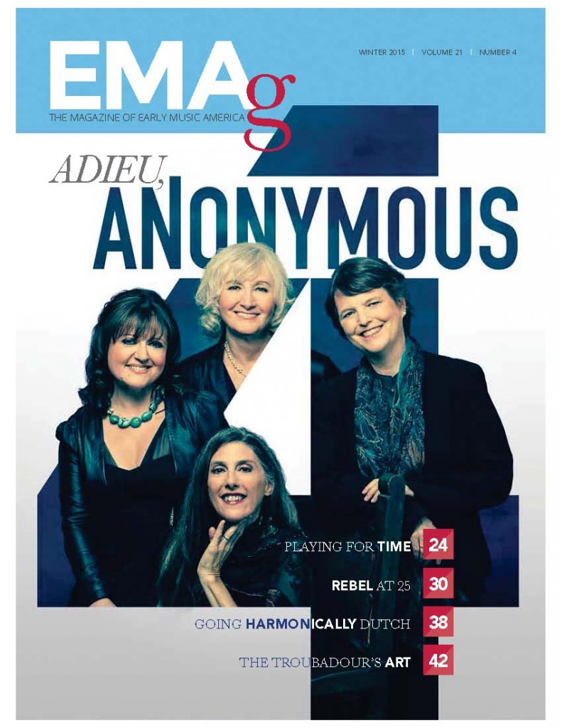 EMAg winter 2015 issue cover featuring Anonymous 4