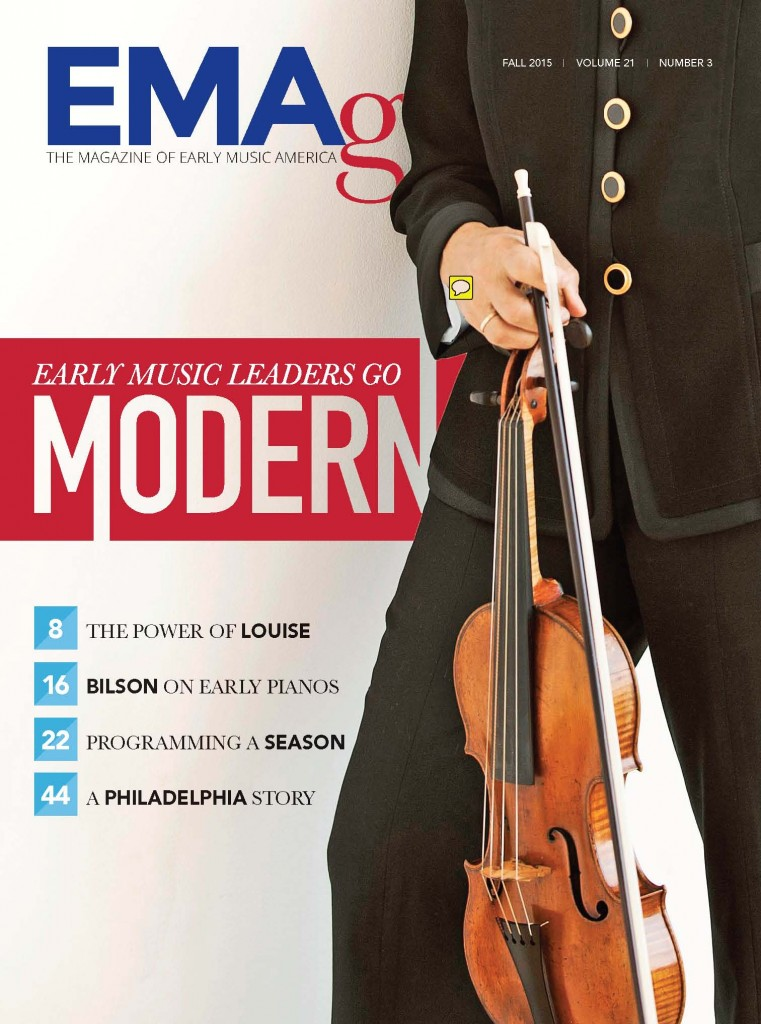 EMAg Fall 2015 cover featuring a man holding a violin