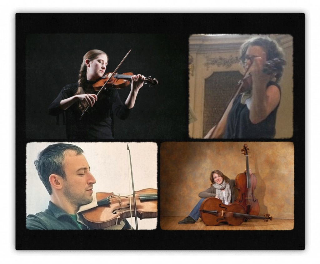 "Members of Sarasa performing Haydn's ""Seven Last Words,"" (clockwise L-R), Christina Day Martinson, violin; Jenny Stirling, viola; Jennifer Morsches, cello; Jesse Irons, violin"