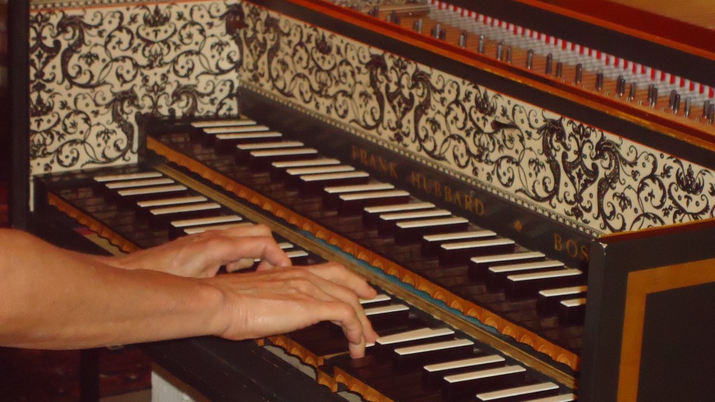 Elaine Comparone hands playing her Hubbard Double Manual Harpsichord