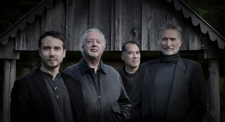Ayreheart members Brian Kay (vocals and lute), Mattias Rucht (percussion), Will Morris (colascione), and Ronn McFarlane (lute).