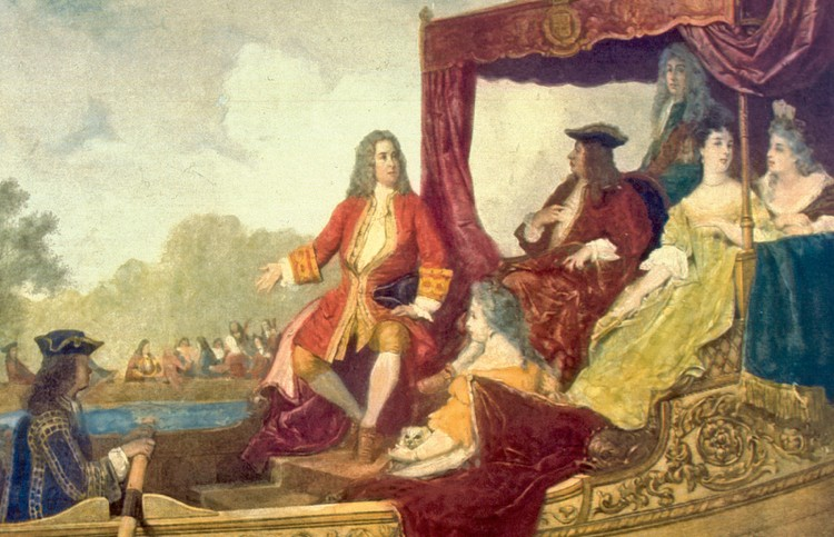 George Frideric Handel, center, and King George I on the River Thames on July 17, 1717, painted by Edouard Hamman.