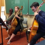 My friend, Stephanie Raby, and I playing Marais for Sarah Cunningham's master class.