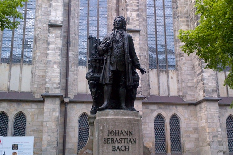 J.S. Bach stands proudly outside the Thomaskirche in Leipzig, where he served from 1723 until his death in 1750.