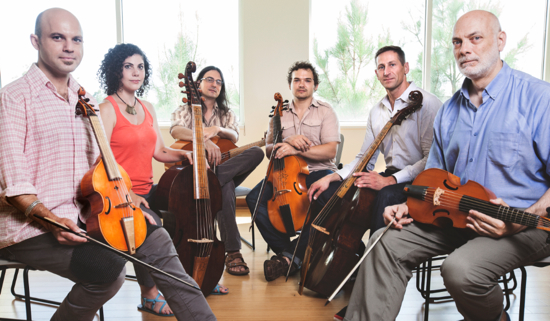 "The ""musicologist-heavy"" ensemble LeStrange Viols comprises, left to right, Loren Ludwig, Zoe Weiss, Kivie Cahn-Lipman, James Waldo, Douglas Kelley, and John Mark Rozendaal. (Photo by Brian Hall)"