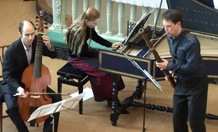 Viola da gamba player Robert Smith, harpsichordist Kathryn Cok and bassoonist Wouter Verschuren in concert.