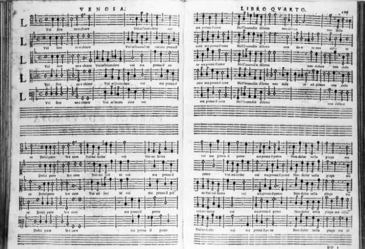 Pages from an early edition of Gesualdo motets.