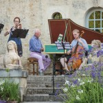 William Christie, center, performs with Joseph Monticello, Augusta McKay Lodge, Alexander Nicholls, and Thibaut Roussel at his estate in Thiré. Photo by David Fugère