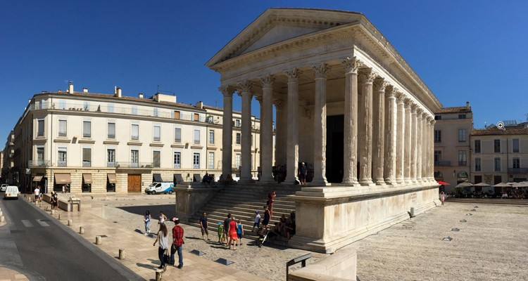 The ancient Roman temple known as the Maison Carrée in Nîmes, France.