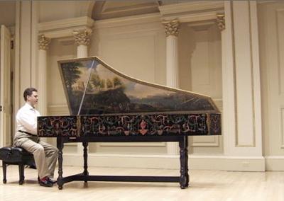 Vinikour preparing for a recital at Carnegie Hall's Weill Recital Hall.
