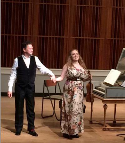 Vinikour with violinist Rachel Barton Pine.