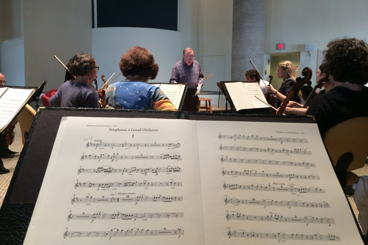 The view form oboist Debra Nagy's desk with Handel and Haydn Society.