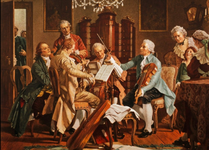 'Haydn Playing,' a painting from the 18th century in the Staats Museum Vienna.