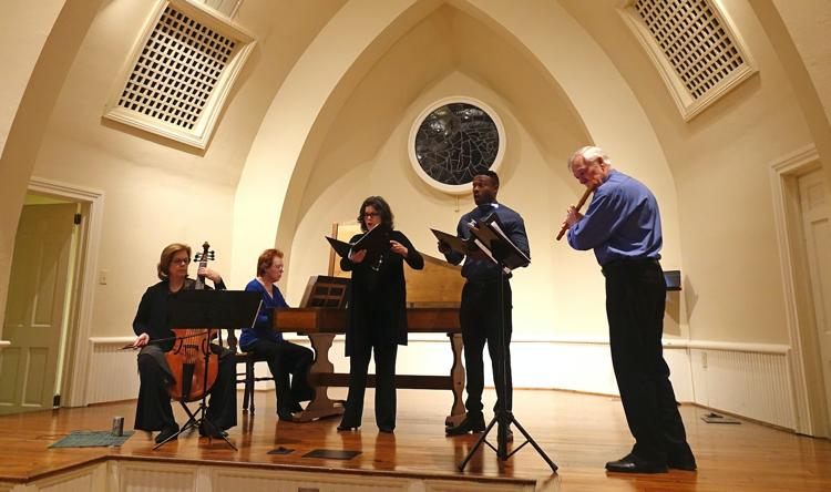Carolina Pro Musica members Holly Wright Maurer (gamba), Karen Hite Jacob (harpsichord), Rebecca Miller Saunders (soprano), Carl DuPont (bass-baritone), and Edward Ferrell (transverse flute) in concert.