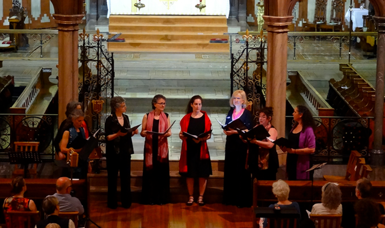 Ensemble Scholastica performing in Montreal's Church of St. John the Evangelist in May 2015.