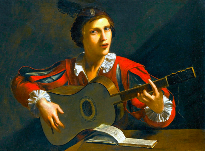 A guitar player painted by Pietro Paolini (1603-1681).