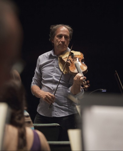 Faculty member and violinist  Marc Destrubé rehearses Haydn's The Creation in 2015.  Photo by Dmitri von Klein