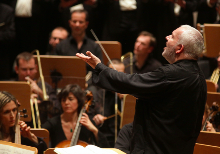 Marc Minkowski conducting Les Musiciens du Louvre in Beethoven's Ninth Symphony in Dortmund, Germany, in 2011. (Photo by Petra Coddington)