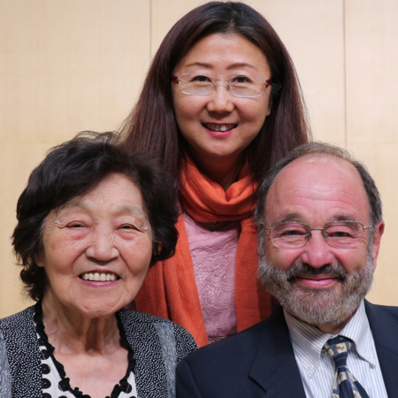 Kroll with pianist Zhou Guangren, left, and Shen Fanxiu, Professor of Harpsichord and Organ at the Central Music Conservatory.