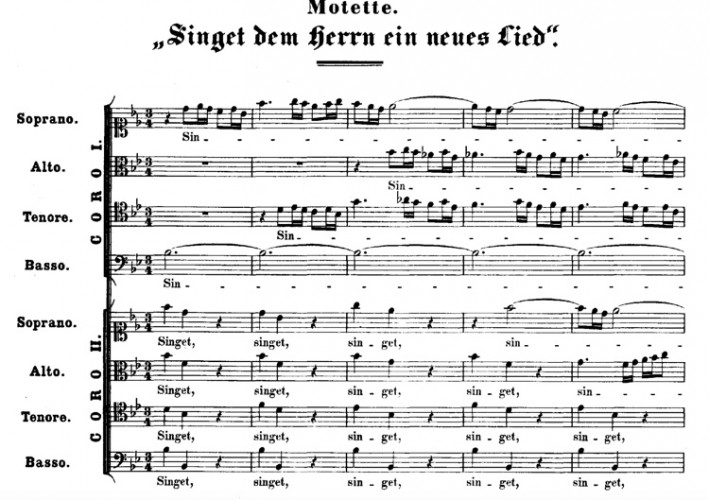 Bach uses a polonaise in the opening movement of his motet 'Singet dem Herrn ein neues Lied,' BWV225.