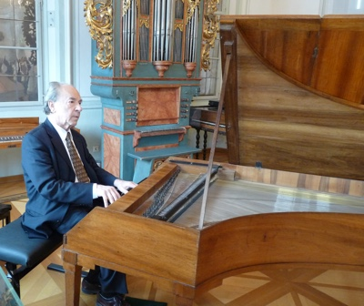 Badura-Skoda playing a harpsichord in Salzburg in 2010.