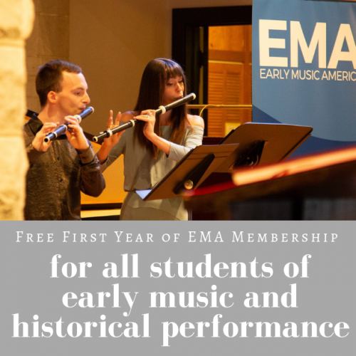 first year free for students of early music and historical performance practice