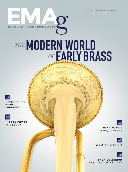 magazine cover with an historical trumpet