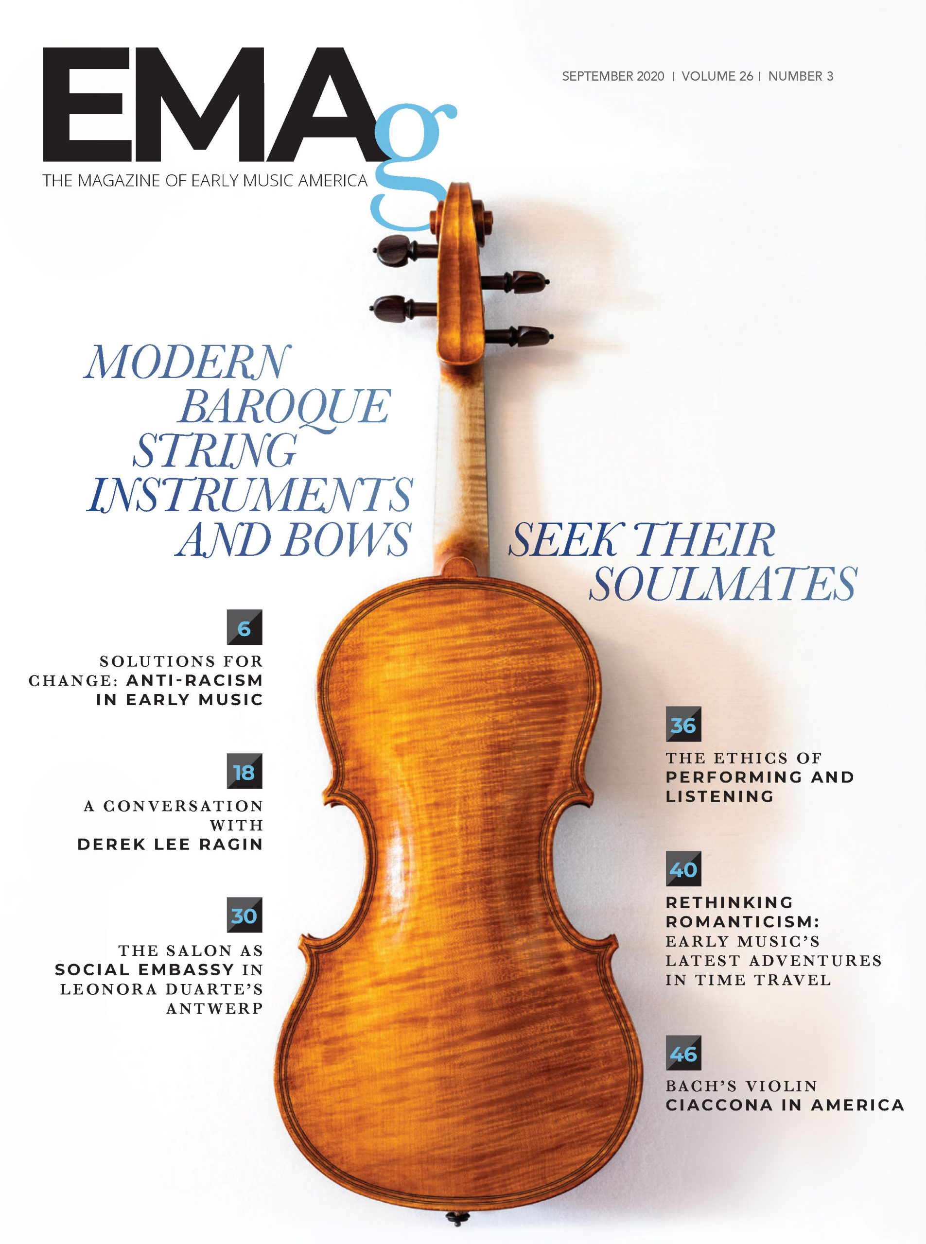 magazine cover with the back of a baroque violin