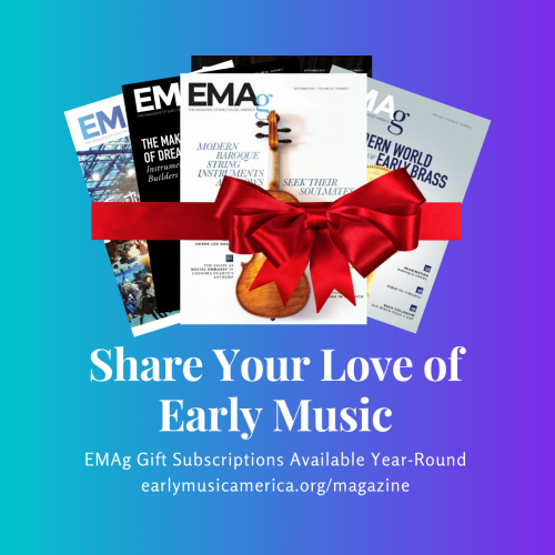 "a fanned group of magazines wrapped in a bow. ""EMAg Gift Subscriptions Available Year-Round."""